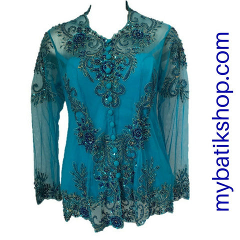 Kebaya Payet Jumbo Blue Long-sleeves