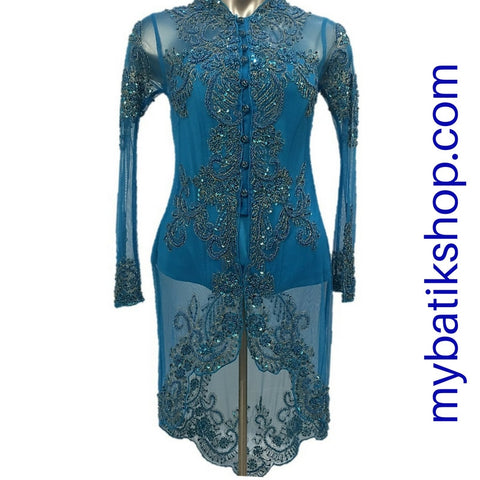 Kebaya Payet High-low Blue Long-sleeves