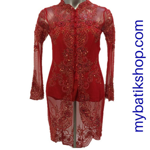 Kebaya Payet High-low Red Long-sleeves
