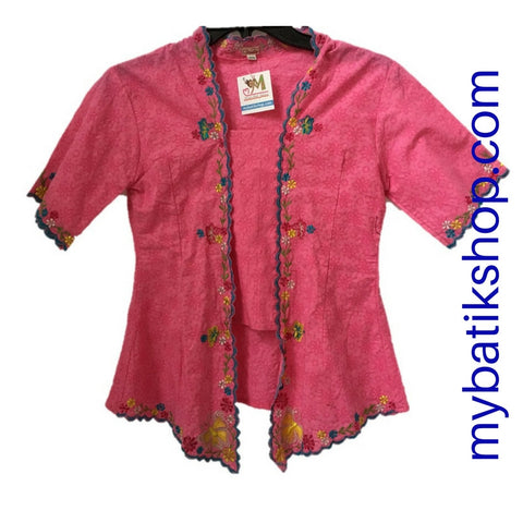 Kebaya for Misses - Voila Pink Embroidered Kutubaru