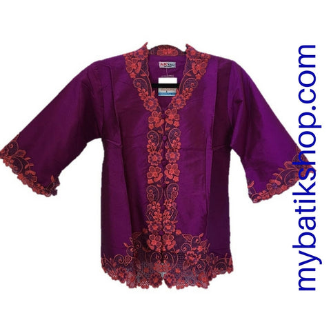 Top Patched Embroidery 3/4 Sleeves Purple