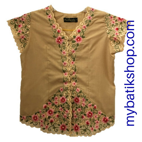 Kebaya for Girls -  Creme Fine Color Embroidered Short-sleeves