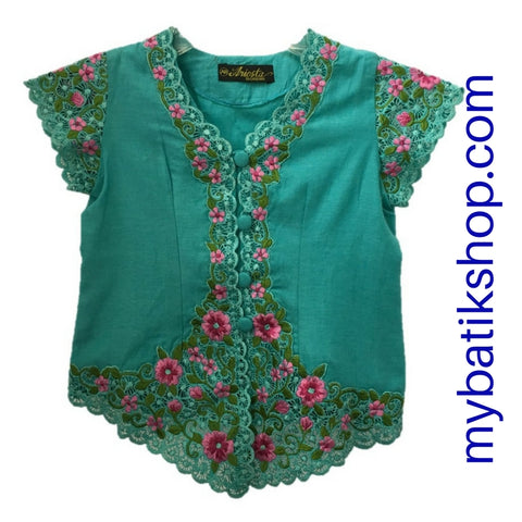 Kebaya for Girls -  Blue Fine Color Embroidered Short-sleeves
