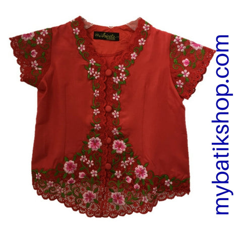 Kebaya for Girls -  Red Fine Color Embroidered Short-sleeves