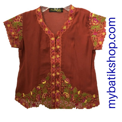 Kebaya for Girls -  Terracota Fine Color Embroidered Short-sleeves