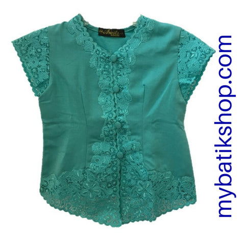 Kebaya for Girls -  Blue Fine Embroidered Short-sleeves