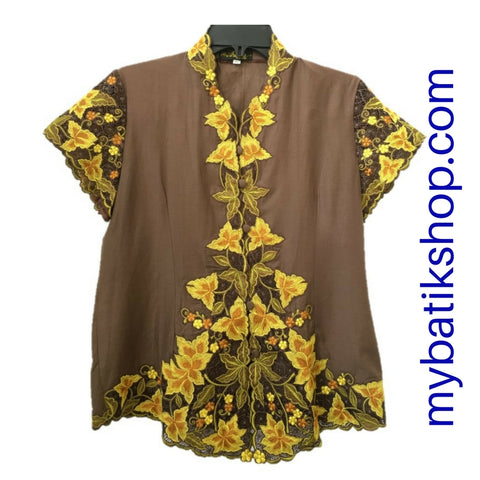 Kebaya for Girls - Brown Fine Embroidered