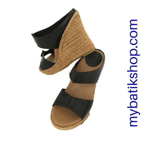 Leather Wedge Sandals Black