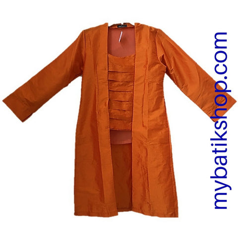 Kebaya Kutubaru Long Satin Orange