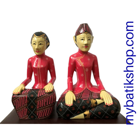 Wooden Javanese Wedding Couple Loro Blonyo X-Large Pink