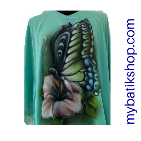 Handpainted Seafoam Green Chiffon Blouse Butterfly
