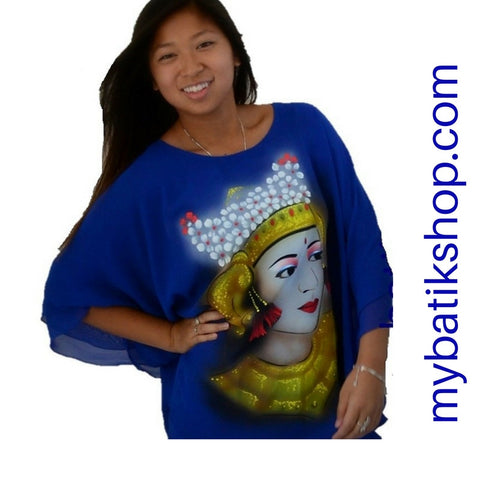Handpainted Blue Chiffon Blouse Dancer