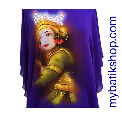 Handpainted Purple Chiffon Blouse Dancer