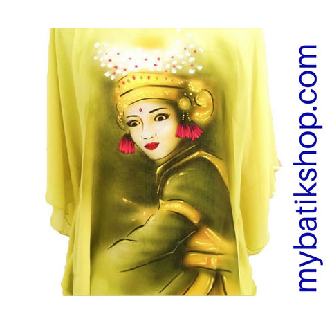Handpainted Yellow Chiffon Blouse Dancer