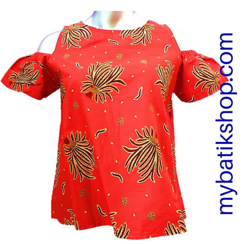 Misses MJ Batik Top Red Leaves