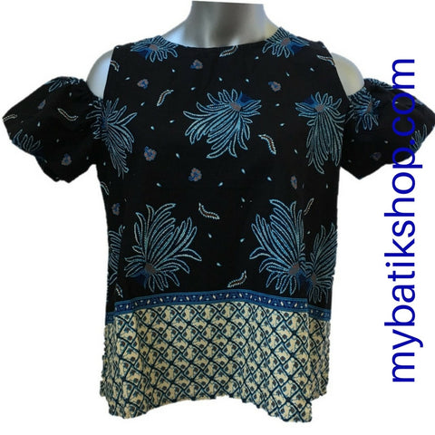 Misses MJ Batik Top Blue Palm