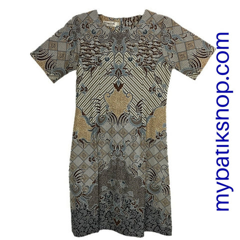 Misses MJ Contemporary Batik Sackdress Gray/Brown