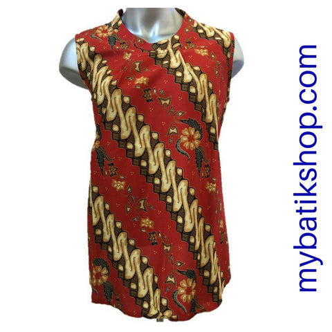 Misses MJ Batik Top Sleeveless Red Parang