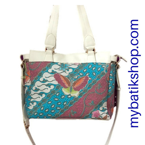 Batik Shoulder/Sling Bag Flat Strap Medium White