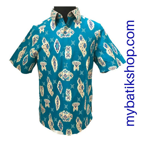 Batik for Men Cotton Modern Print Bright Blue