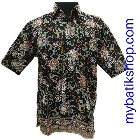 Batik for Men Green Black Short-sleeves