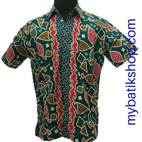 Batik for Men Green Red Thunder Short-sleeves