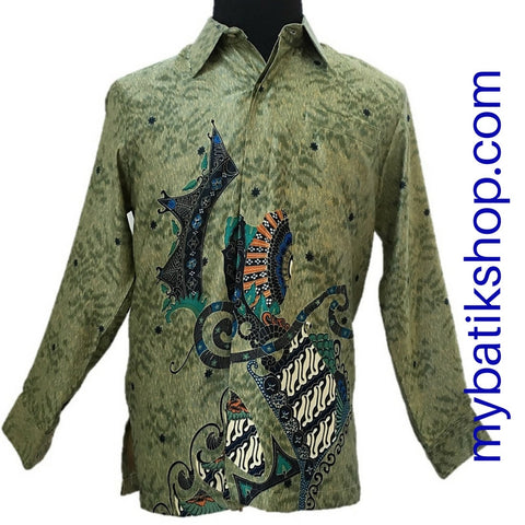 Batik for Men Silk Long-sleeve Light Green