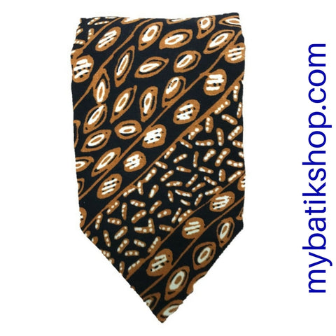 Men's Batik Tie Silky Dark Blue and Gold