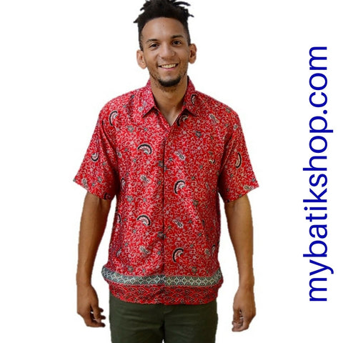 Batik for Men Semi Silk Red/Orange