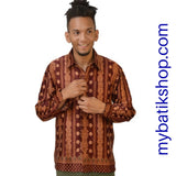 Batik for Men Semi Silk Long-sleeve Maroon