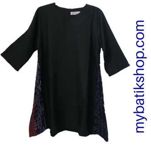 Tenun Black Dress 3/4 Sleeves