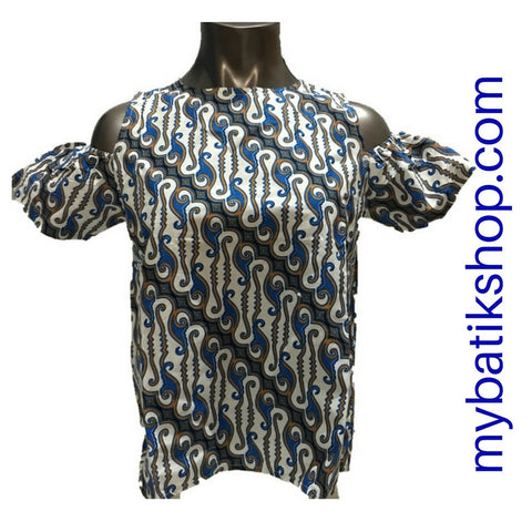 Misses MJ Batik Top Short-sleeves Cloud Blue