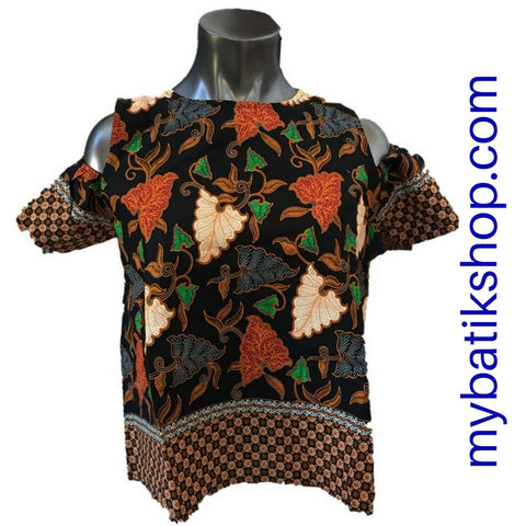 Misses MJ Batik Off-Shoulder Top Tangerine Contrast