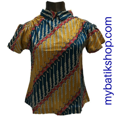Misses MJ Batik Top Short-sleeves Yellow Blue