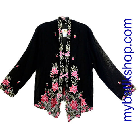 Kebaya Nyonya Fine Embroidery XXXL Black Long-sleeves
