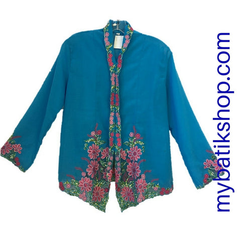 Kebaya Nyonya Fine Embroidery XXL Blue Long-sleeves
