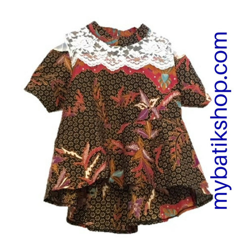 Batik Lace Top Off Shoulder Brown/Red