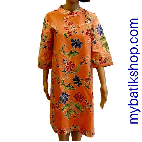 Batik Soft Primissima Print Dress - Orange