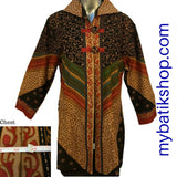 Batik Plus Geometric Orange Green Print Blazer