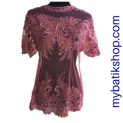 Kebaya Plus Payet Grape Short-sleeves