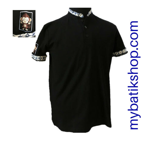 Polo Shirt with Batik Trim - Black