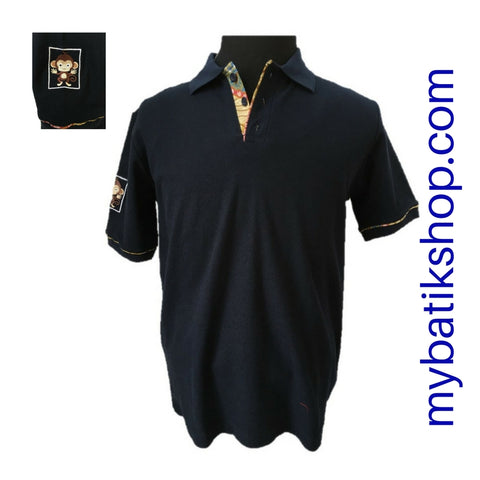 Polo Shirt with Batik Trim - Navy