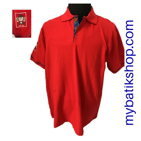 Polo Shirt with Batik Trim - Red