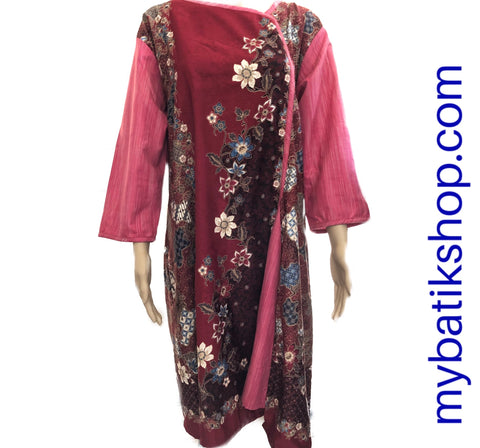 Fine Long-sleeves Batik Plus Pink Maroon