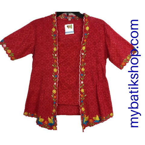 Kebaya for Girls - Voila Red Embroidered Kutubaru