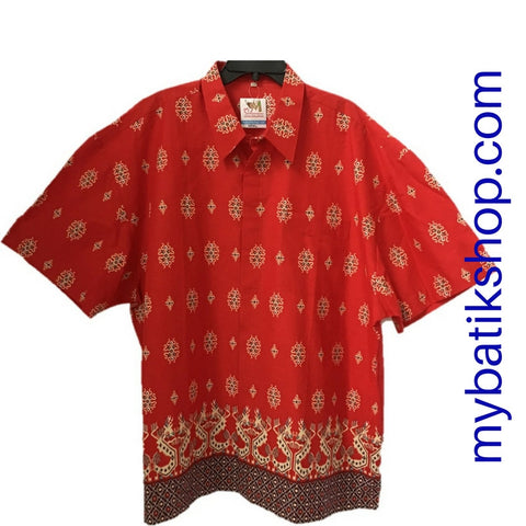 Batik for Men Cotton Red Short Sleeves