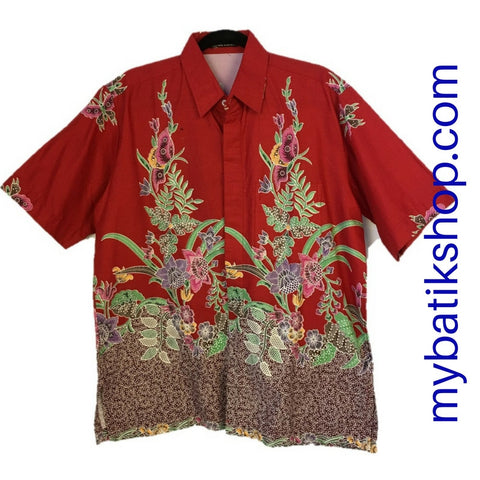 Batik for Men Lined Red Butterfly Short-sleeves