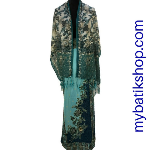 Sarong and Scarf Set Solo Semi Silk Cloud Blue