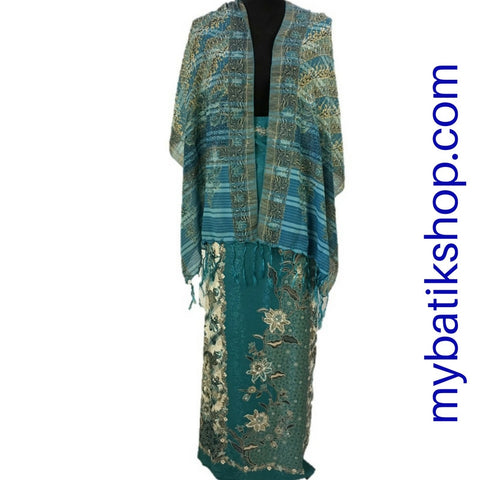 Sarong and Scarf Set Solo Semi Silk Light Blue