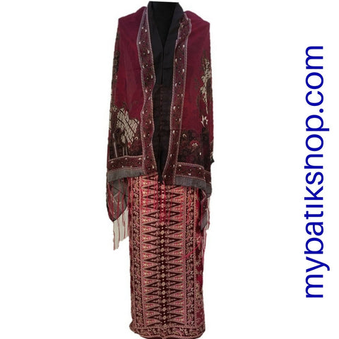 Sarong and Scarf Set Solo Semi Silk Red Wine